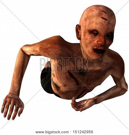old, bald, weak zombies. In blood and cuts. He creeps close to the right of the camera. 3D rendering, 3D illustration