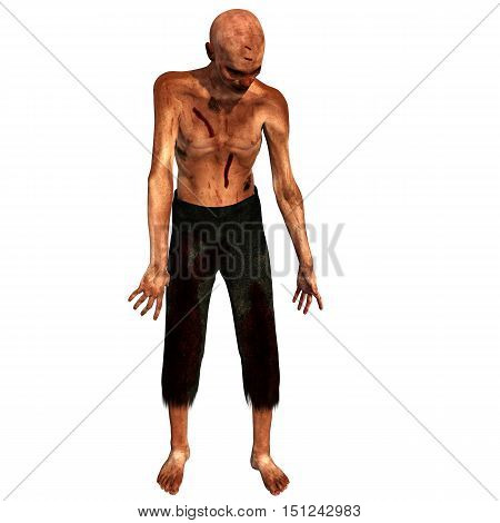 old, bald, weak zombies. In blood and cuts. He stands with hairy hands and head. 3D rendering, 3D illustration