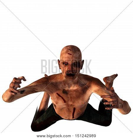 old, bald, weak zombies. In blood and cuts. He is on his knees and raises his hands up. 3D rendering, 3D illustration