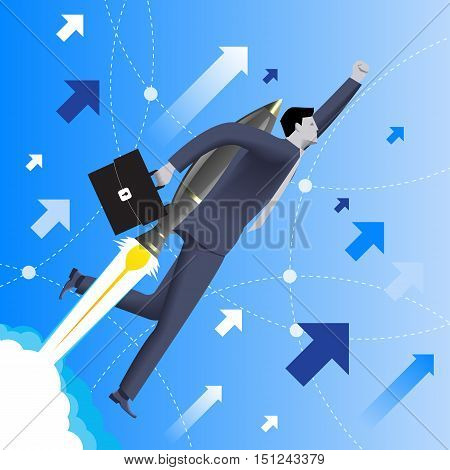 With the rocket speed business concept. Confident businessman in business suit with case in his hand and rocket engine on his back flies upwards at high speed. Concept of startup and quick success.