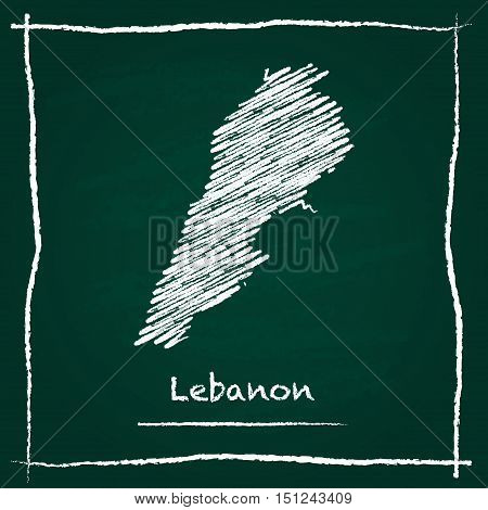 Lebanon Outline Vector Map Hand Drawn With Chalk On A Green Blackboard. Chalkboard Scribble In Child