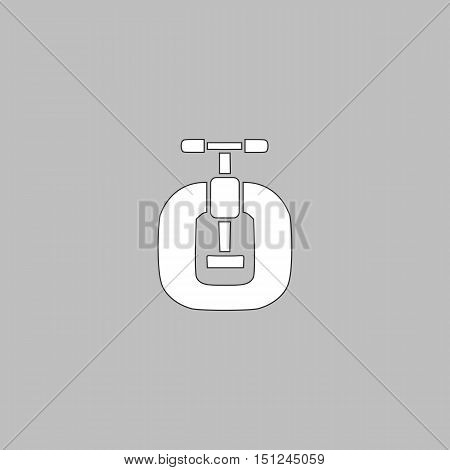 Vice Simple line vector button. Thin line illustration icon. White outline symbol on grey background