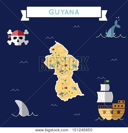 Flat Treasure Map Of Guyana. Colorful Cartoon With Icons Of Ship, Jolly Roger, Treasure Chest And Ba