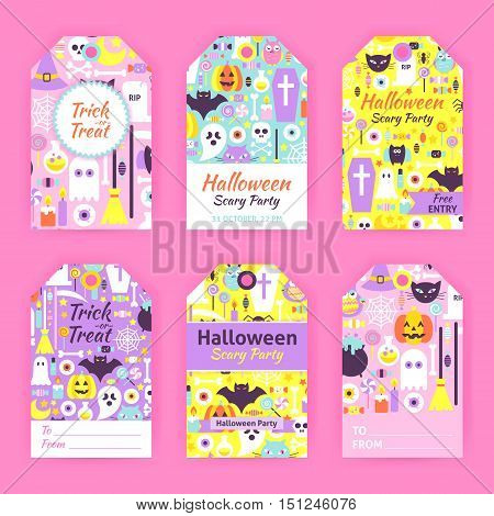 Trendy Colors Halloween Gift Labels. Flat Vector Illustration of Scary Party Tags. Printable Autumn Holiday Badge Design.