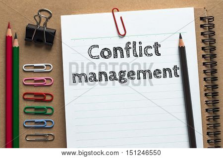 Text Conflict management on white paper background / business concept