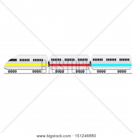 Passenger train on a white background. Vector illustration