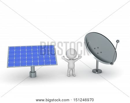3D character with a large solar panel and a large parabolic dish antenna. Isolated on white background.
