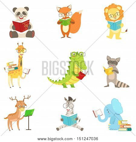 Cute Animal Characters Reading Books Set. Childish Cartoon Style Humanized Animals Vector Stickers Isolated On White Background.