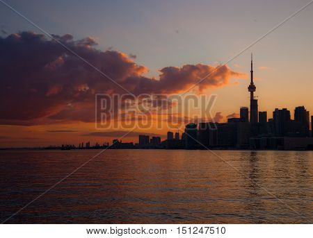 City skyline over a lake at sunset.