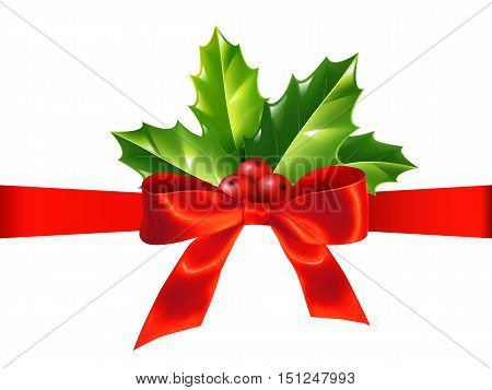Red silky ribbon with bow and holly leaves, vector Christmas decoration isolated on white background