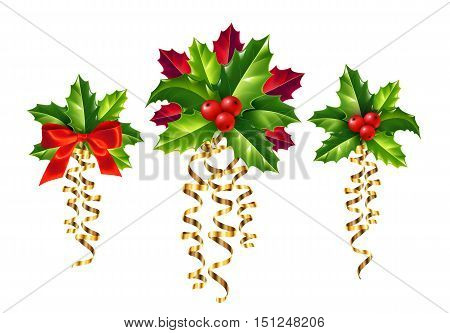 Vector realistic holly and red and golden ribbons Christmas ornaments set. Holly green leaves and red berries with golden serpentine ribbons and red silky bow isolated on white background.