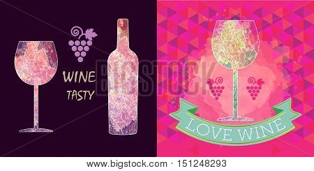 Wine tasting card set, grape sign, purple bottle over dark background with a purple glass. Digital vector image.
