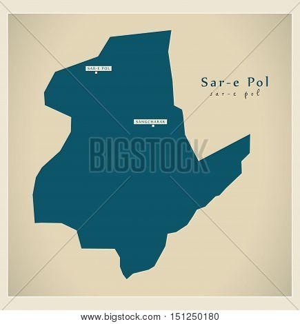Modern Map Sar-e Pol Afghanistan AF vector high res