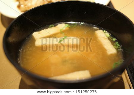 Japanese Cuisine - Miso Soup With Seaweed,