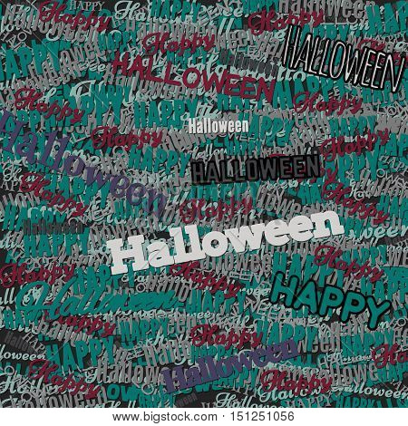 Happy Halloween phrase. Multilayer Pattern with multicolored words cut out of colored paper. Ornament for print the wrapping paper. Vector illustration.
