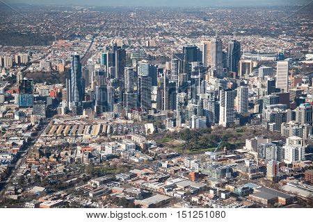 MELBOURNE, AUSTRALIA - JULY 16, 2016 : Aerial view of Modern building in Melbourne city Melbourne is the capital and most populous city in the Australian state of Victoria Australia.