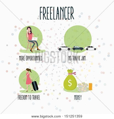 freelancer flexibility working anywhere concept laptop freedom creative jobs from home vector