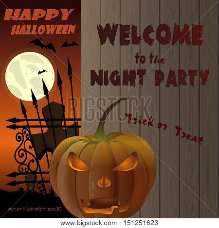 Happy Halloween Poster. Jack-o'-lantern on a background of a wooden fence. Full moon over the cemetery. Vector illustration