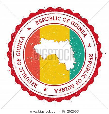 Guinea Map And Flag In Vintage Rubber Stamp Of State Colours. Grungy Travel Stamp With Map And Flag