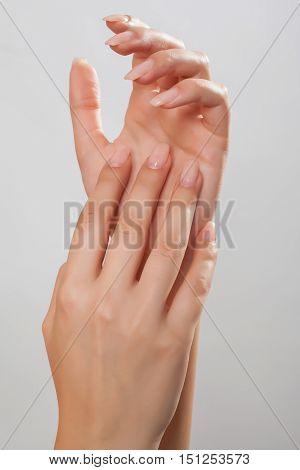 Shot of beautiful well-kept hands of a woman