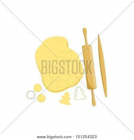 Dough And Rolling Pin Baking Process And Kitchen Equipment Isolated Item. Simplified Realistic Flat Vector Drawing On White Background.