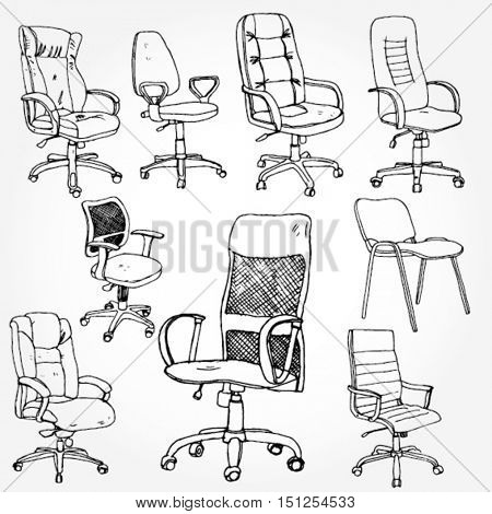 Set of Office Chairs Hand Drawn