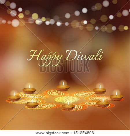 Happy Diwali greeting card invitation. Indian Festival of lights. Diya oil lit lamps and rangoli floral ornament. Festive golden glitter vector illustration background. Celebration concept.