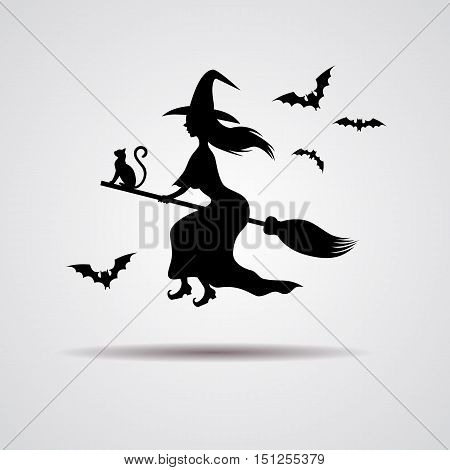 young Witch silhuette flying on a broomstick icon. Vector illustration