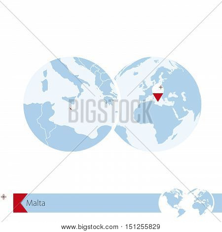 Malta On World Globe With Flag And Regional Map Of Malta.