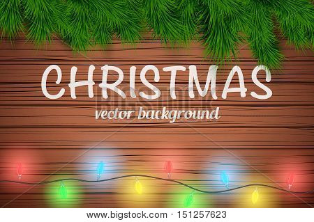 Christmas wooden background with Garland Lights Decorations and Christmas wooden background with spruce fir tree. Top view. Winter Holiday xmas mockup and backdrop. Vector Illustration.