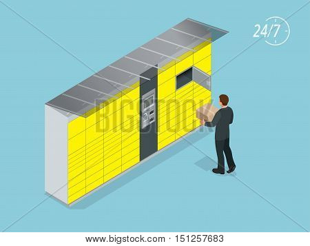 Isometric Parcel Delivery Lockers. Self-service. Express Delivery. This service provides an alternative to home delivery for online purchases