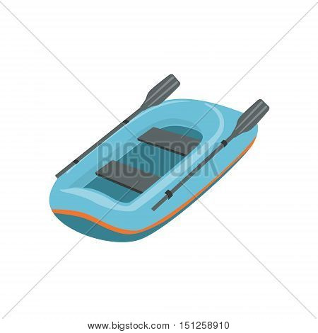 Blue Inflatable Dinghy Type Of Boat Icon. Simple Childish Vector Illustration Isolated On White Background