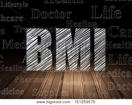 Health concept: Glowing text BMI in grunge dark room with Wooden Floor, black background with  Tag Cloud
