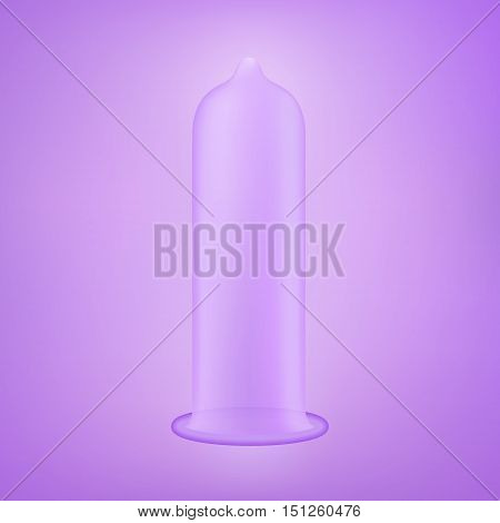 Latex condom over violet background. Realistic vector illustration. Condom without pack. Condom icon or sign isolated over violet background. Contraceptive method