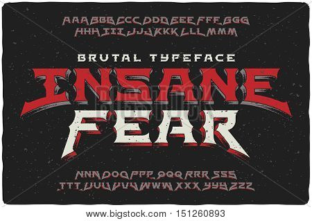 Insane Fear brutal font with textured extrude effect poster