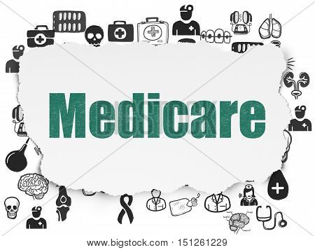 Healthcare concept: Painted green text Medicare on Torn Paper background with  Hand Drawn Medicine Icons