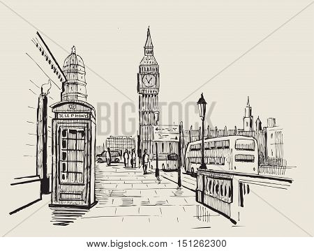 vector hand drawn landscape of London city
