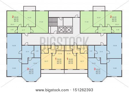 large dwelling house floor vector set. Architecture plan