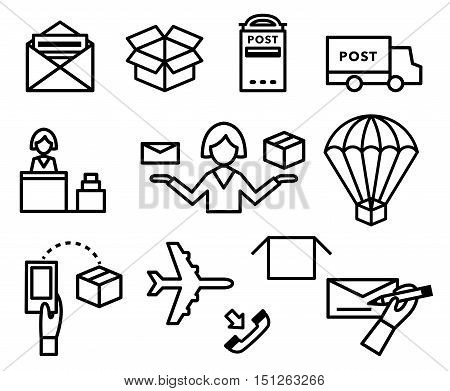 Post vector icons. Shipping and delivery symbol set