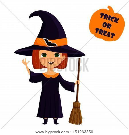 Halloween witch. Cute girl in witch costume illustration. Element for design prints and greeting cards. Trick or treat stamp.