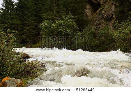 Nature, landscape, species, landscape, mountains, rays, river, mountain river, forest, mountain forest, Kyrgyzstan