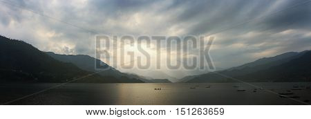 Landscape - Panorama - wonderful view on Fewa Lake - Pokhara Nepal