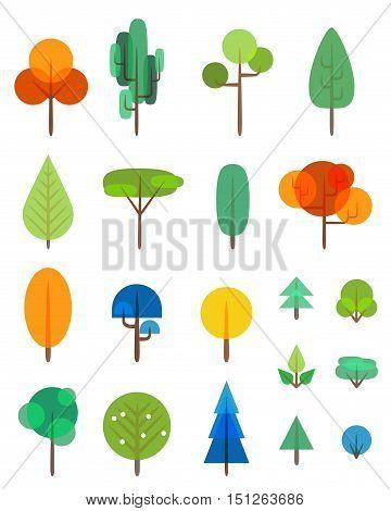 Flat trees and bushes vector transparency symbols set