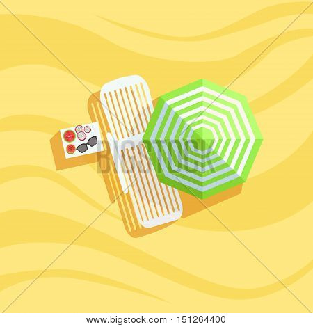 Fruits, Sunbed And Umbrella Spot On The Beach Composition. Place On The Sand With Vacation Attributes From Above Bright Color Vector Illustration.