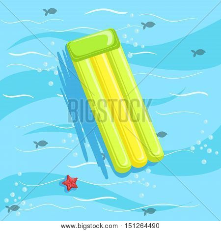 Green Inflatable Matress With Blue Sea Water On Background. Beach Vacation Related Illustration Drawn From Above In Simple Vector Cartoon Style.