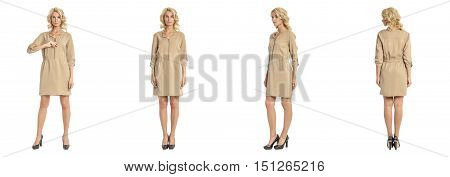 Beautiful Blonde Woman In Tunic Dress Isolated On White