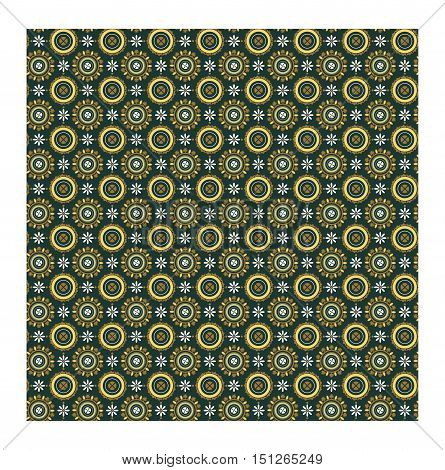 Pattern in Roman style. Ornament on ceiling vaults in mausoleum of Galla Placidia. Byzantine floral pattern of circles on dark green background. Vector illustration
