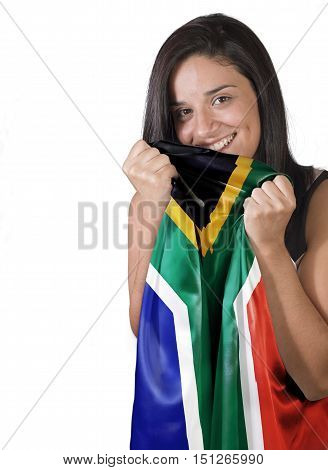 A Girl With Love Holding A Flag Of South Africa