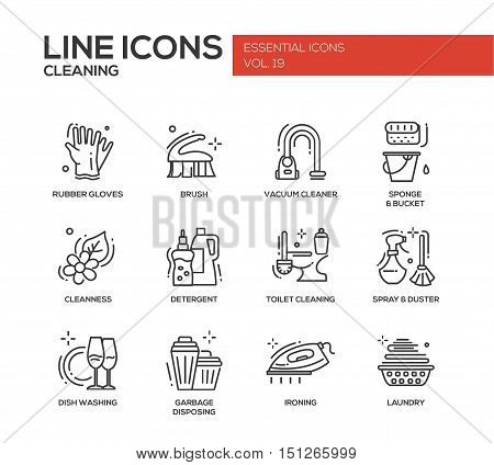 Cleaning - modern vector line design icons and pictograms set. Rubber gloves, vacuum cleaner, brush, cleanness, detergent, toilet, spray, duster, dish washing, garbage disposing ironing laundry poster