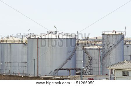 old steel empty storage tanks used for fuel and petroleum